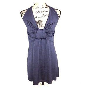 Marisa K blue halter tunic stretchy top large